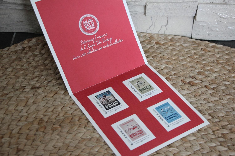 Carnet de 4 timbres Anjou Vélo Vintage