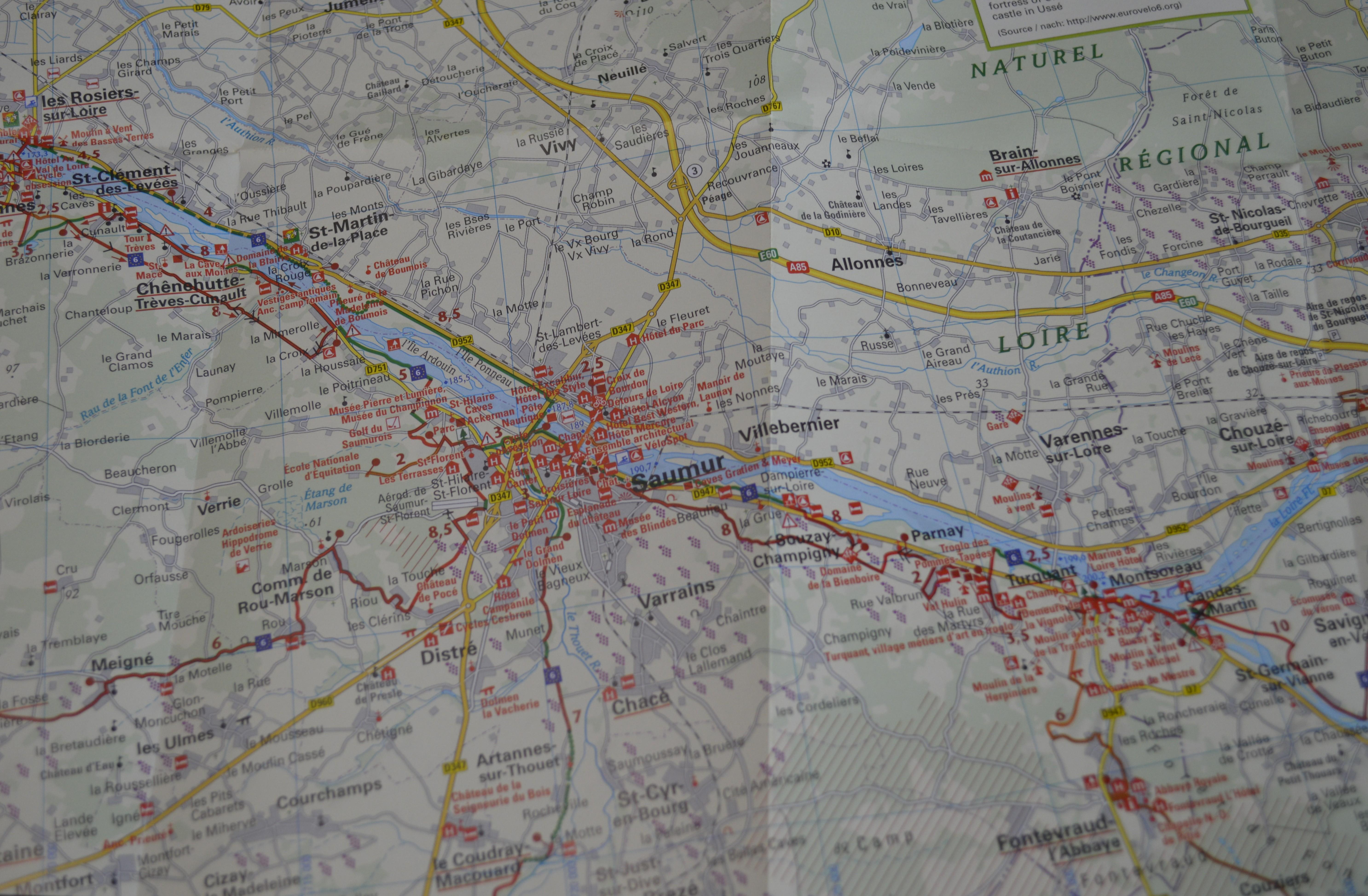 Carte Loire à vélo - Eurovélo 6 -N°2